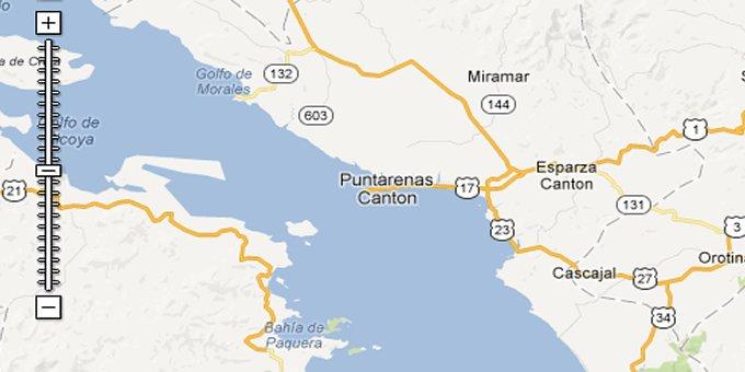 puntarenas costa rica map Map Of Puntarenas Costa Rica puntarenas costa rica map